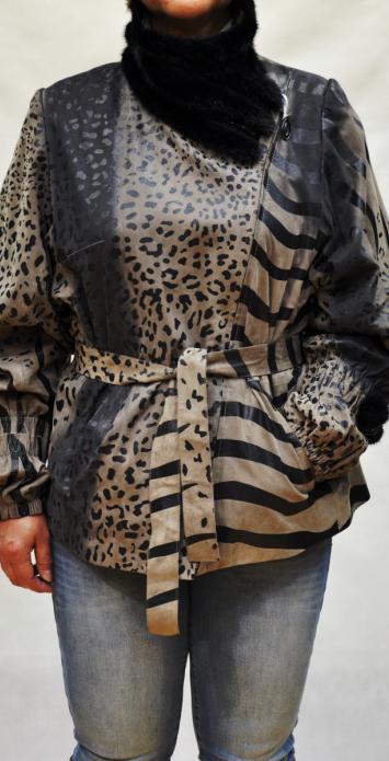 кожаная куртка с норкой