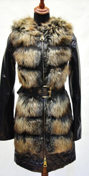 меховая кожаная куртка жилетка