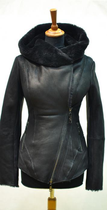 Куртка дубленка на косой молнии