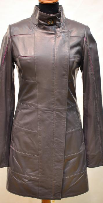 удлиненная стильная кожаная куртка