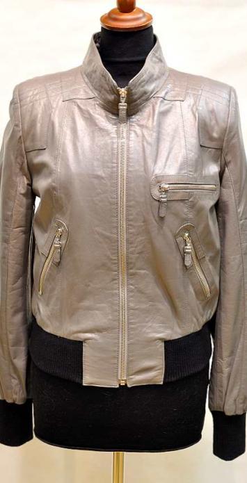 кожаная куртка с резинкой