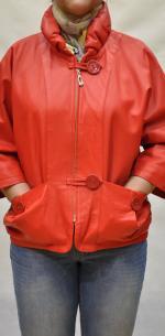 женская куртка из мягкой кожи ягненка на молнии и двух пуговицах