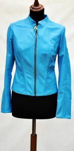 кожаная короткая куртка голубая