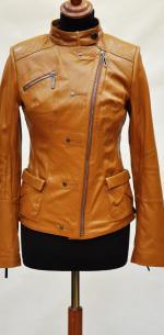 рыжая женская кожаная куртка