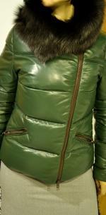 Кожаная куртка женская пуховик