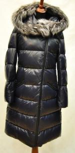 Зимний женский кожаный пуховик