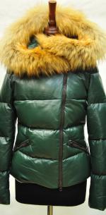 Кожаный зимний пуховик женский