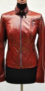 кожаная женская короткая куртка